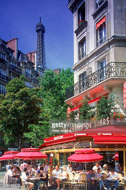 cafe & eiffel tower, paris, france