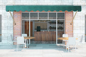 Cafe with brick walls and green canopy exterior design. 3D Render