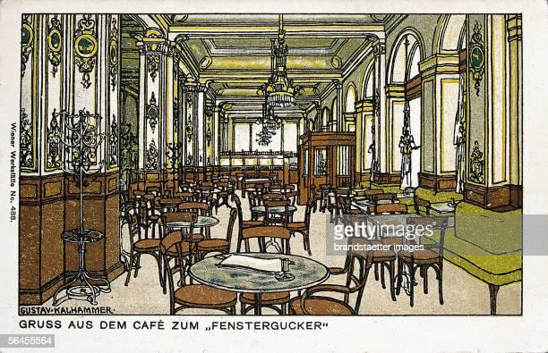Cafe Fenstergucker in Vienna Vienna's Workshop card No 488 Coloured lithography Around 1911 [Wien Cafe Fenstergucker Wiener WerkstaettePostkarte No...