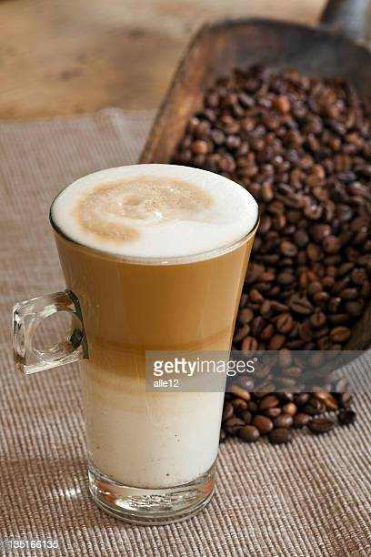 Cafe Latte with Coffee beans