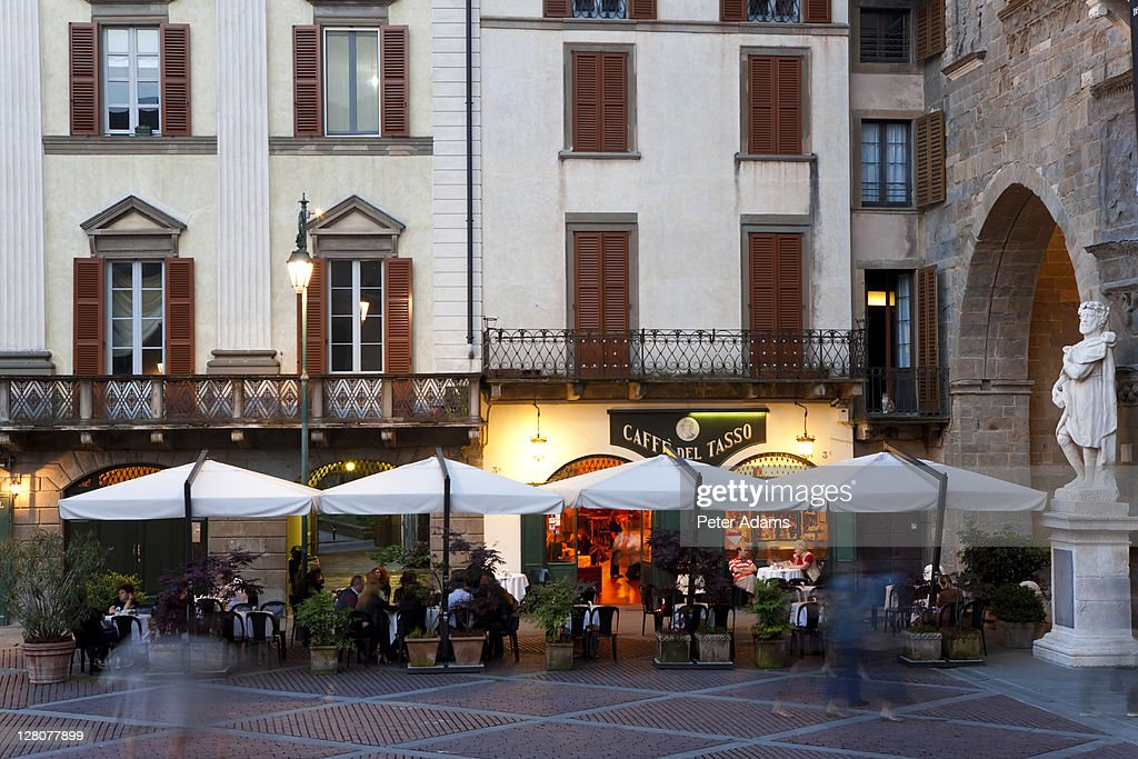Cafe, restaurant, Old Square, Bergamo, Italy : Stock Photo