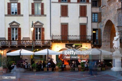 Cafe, restaurant, Old Square, Bergamo, Italy