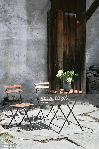 Cafe table and chairs outdoors