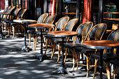 Typical café terrace in Paris