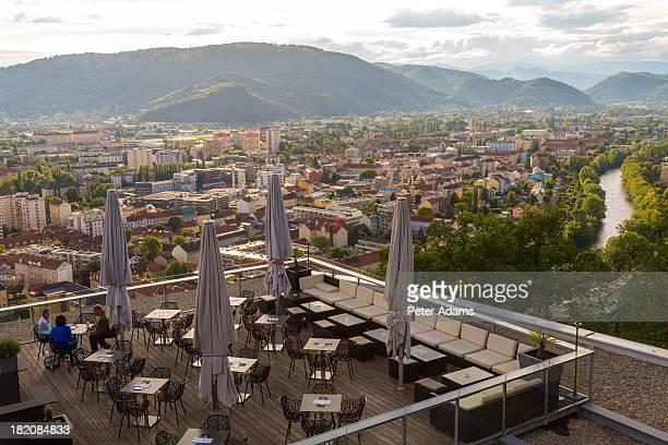 Cafe, Town View & Rooftops, Graz, Austria