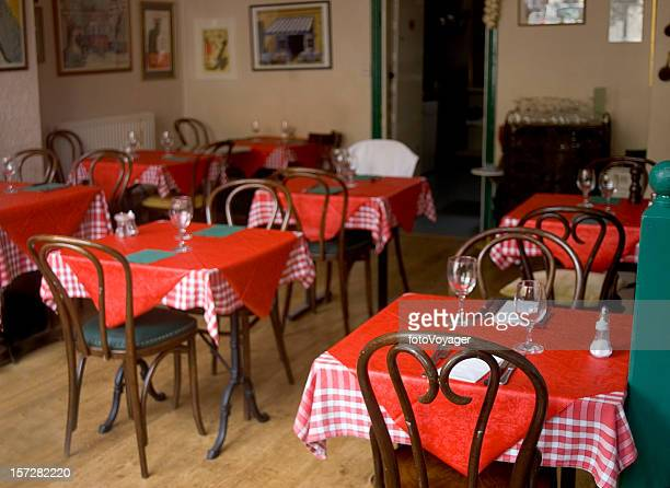 Cafe with red tablecloths