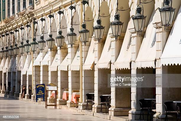 Cafes lining the Liston, Corfu Town, Corfu, Greece