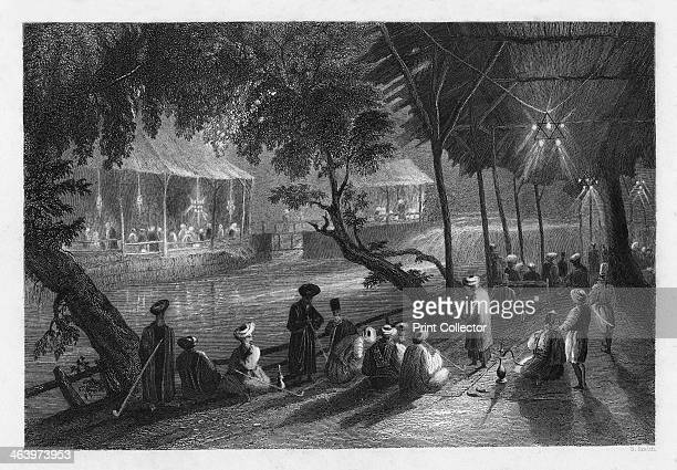 Cafes on a branch of the Barrada River Damascus Syria 1841 From Syria the Holy land and Asia Minor volume I by John Carne published by Fisher Son Co