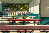 Cafeteria in school, looks like a long table. Can eat at the same time many people.