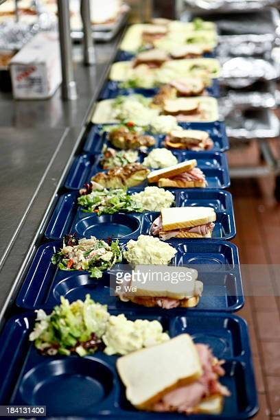 Cafeteria lunch assembly line