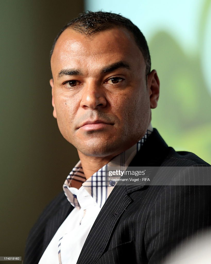 Cafu attends the media briefing to announce the ticketing strategy for the 2014 FIFA World Cup at the Hotel Renaissance on July 19, 2013 in Sao Paulo, Brazil.