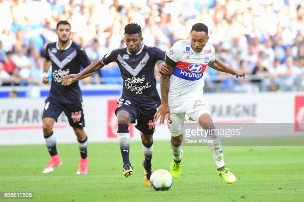Cafu Jonathan Renato Barbosa of Bordeaux and Kenny Tete of Lyon during the Ligue 1 match between Olympique Lyonnais and FC Girondins de Bordeaux at...