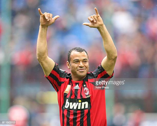 Cafu of AC Milan celebrates a goal during the Serie A match between Milan and Udinese at the Stadio Meazza San Siro on May 18 2008 in Milan Italy