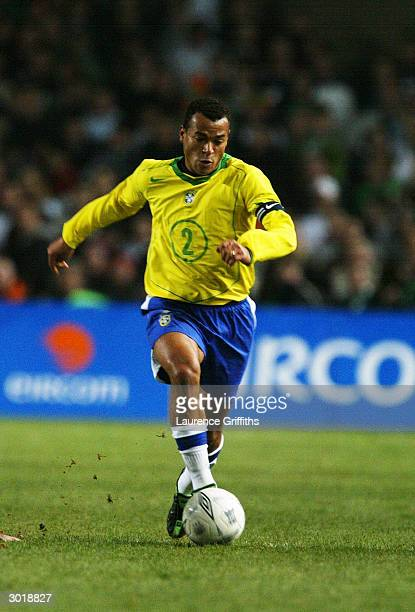 Cafu of Brazil makes a break forward during the International Friendly match between Republic of Ireland and Brazil held on February 18 2004 at...