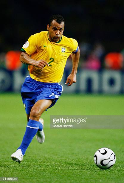Cafu of Brazil runs with the ball during the FIFA World Cup Germany 2006 Group F match between Brazil and Croatia played at the Olympic Stadium on...