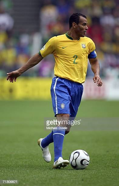 Cafu of Brazil runs with the ball during the FIFA World Cup Germany 2006 Round of 16 match between Brazil and Ghana at the Stadium Dortmund on June...