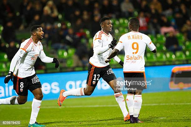 Cafu of Lorient and Benjamin Moukandjo of Lorient celebrates scoring his goal during the French Ligue 1 match between Metz and Lorient at Stade...