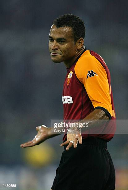 Cafu of Roma during the UEFA Champions League First Phase Group C match between AS Roma and Real Madrid at the Stadio Olimpico in Rome Italy on...