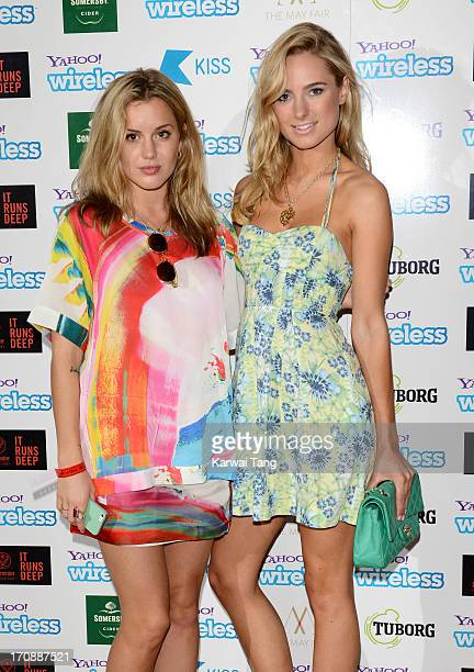 Caggie Dunlop and Kimberley Garner attend the Yahoo Wireless preparty at The Mayfair Hotel on June 19 2013 in London England
