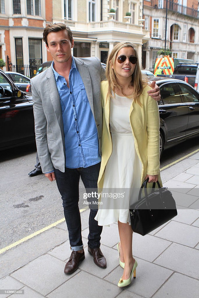 Caggie Dunlop and new boyfriend arrive at Austique fashion show at Claridges on May 2, 2012 in London, England.