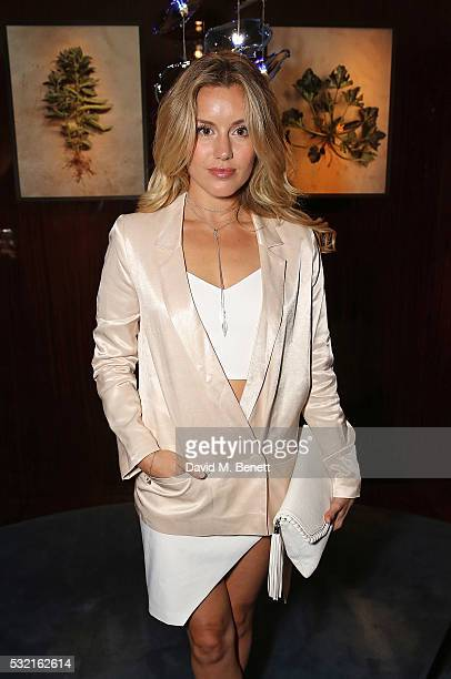 Caggie Dunlop attends a Start of the Season supper hosted at Rivea Bulgari Hotel on May 18 2016 in London England