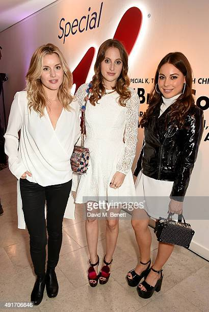 Caggie Dunlop Rosie Fortescue and Louise Thompson attend the Special K Bring Colour Back launch at The Hospital Club on October 7 2015 in London...