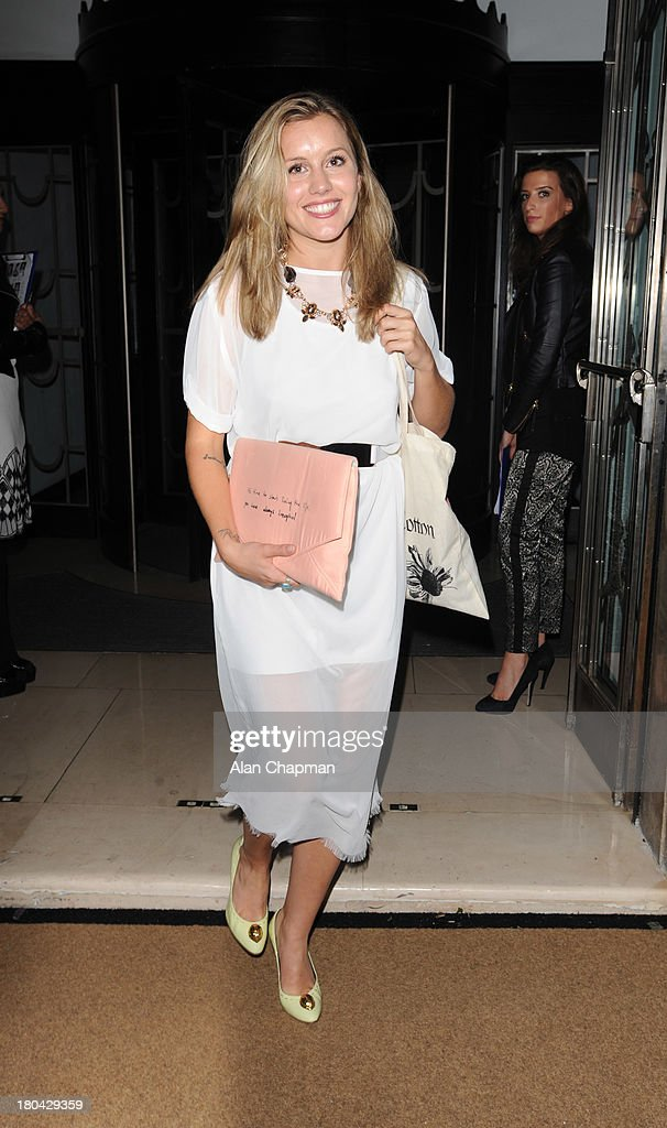 <a gi-track='captionPersonalityLinkClicked' href=/galleries/search?phrase=Caggie+Dunlop&family=editorial&specificpeople=7881532 ng-click='$event.stopPropagation()'>Caggie Dunlop</a> sighting at the Fearne Cotton Fashion Show, Claridges on September 12, 2013 in London, England.