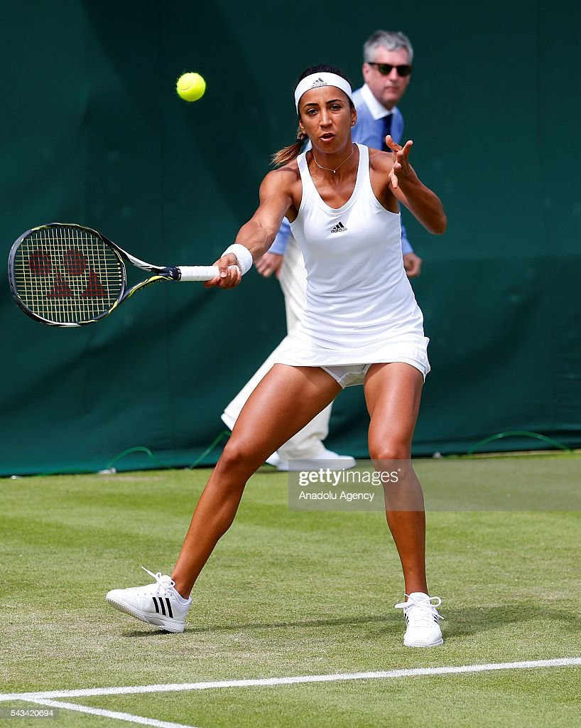 Cagla Buyukakcay of Turkey in action against Caroline Garcia of France (not seen) during the Women's Singles on day two of the 2016 Wimbledon Championships at the All England Lawn and Croquet Club in London, United Kingdom on June 28, 2016.