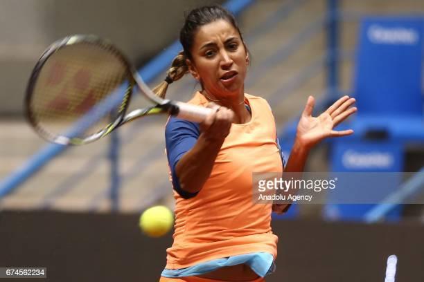 Cagla Buyukakcay of Turkey returns the ball during the TEB BNP Paribas Istanbul Cup Women's Couple tennis match between Cagla Buyukakcay of Turkey...