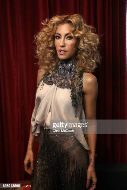 Cagla Sikel poses backstage ahead of the Tuvanam show during MercedesBenz Istanbul Fashion Week March 2017 at Grand Pera on March 23 2017 in Istanbul...