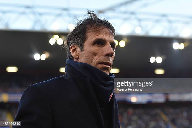 Cagliari Calcio head coach Gianfranco Zola looks on during the Serie A match between UC Sampdoria and Cagliari Calcio at Stadio Luigi Ferraris on...