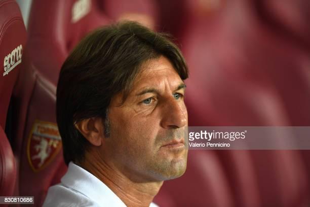 Cagliari Calcio head coach Massimo Rastelli looks on during the TIM Cup match between Cagliari Calcio and US Citta di Palermo at Stadio Olimpico on...