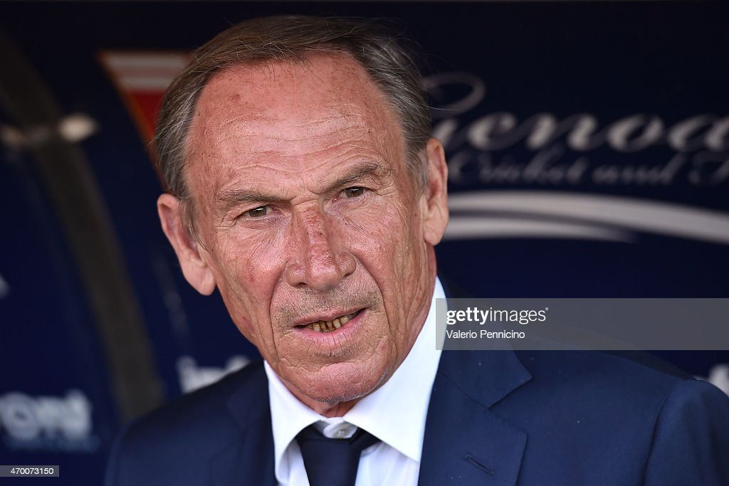 Cagliari Calcio head coach <a gi-track='captionPersonalityLinkClicked' href=/galleries/search?phrase=Zdenek+Zeman&family=editorial&specificpeople=628975 ng-click='$event.stopPropagation()'>Zdenek Zeman</a> looks on prior to the Serie A match between Genoa CFC and Cagliari Calcio at Stadio Luigi Ferraris on April 11, 2015 in Genoa, Italy.