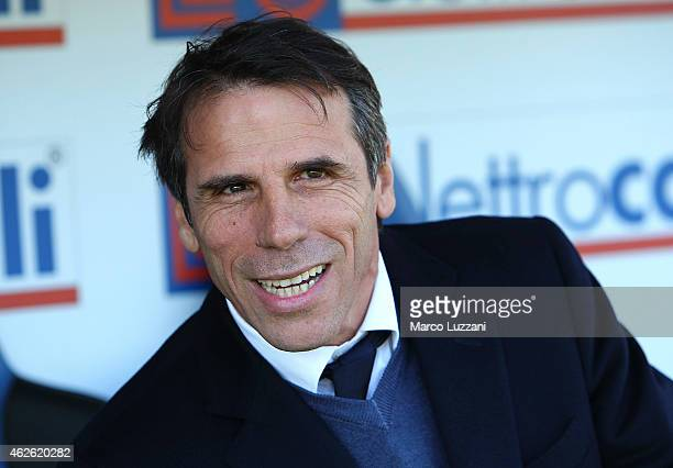 Cagliari Calcio manager Gianfranco Zola looks on before the Serie A match between Atalanta BC and Cagliari Calcio at Stadio Atleti Azzurri d'Italia...
