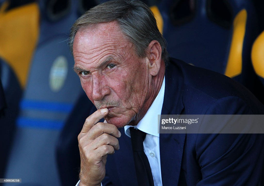 Cagliari Calcio manager <a gi-track='captionPersonalityLinkClicked' href=/galleries/search?phrase=Zdenek+Zeman&family=editorial&specificpeople=628975 ng-click='$event.stopPropagation()'>Zdenek Zeman</a> looks on before the Serie A match between Hellas Verona FC and Cagliari Calcio at Stadio Marc'Antonio Bentegodi on October 4, 2014 in Verona, Italy.