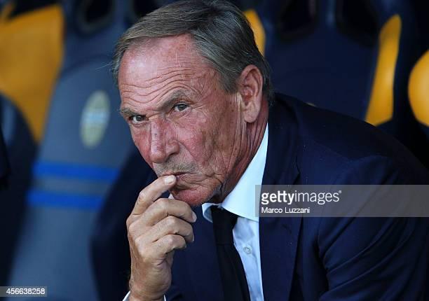 Cagliari Calcio manager Zdenek Zeman looks on before the Serie A match between Hellas Verona FC and Cagliari Calcio at Stadio Marc'Antonio Bentegodi...