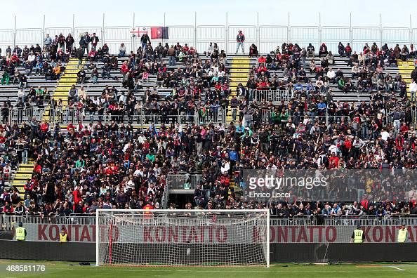 Cagliari supporters during the Serie A match between Cagliari Calcio and SS Lazio at Stadio Sant'Elia on April 4 2015 in Cagliari Italy