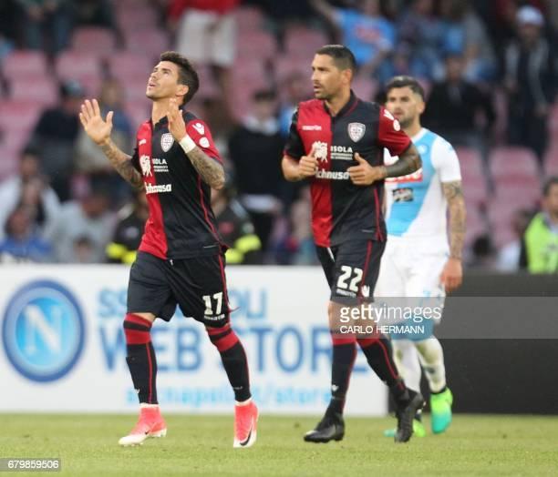 Cagliari's Brazilian forward Diego Farias celebrates after scoring during the Italian Serie A football match SSC Napoli vs Cagliari Calcio on May 6...