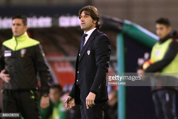 Cagliari's coach Massimo Rastelli looks on during the Serie A match between Cagliari Calcio and US Sassuolo at Stadio Sant'Elia on December 22 2016...