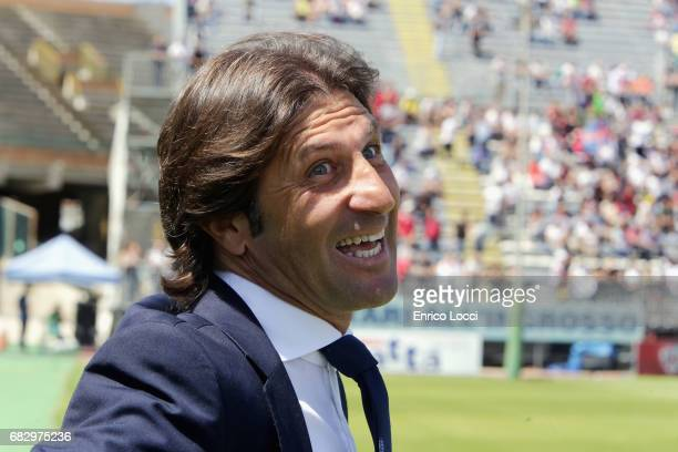 Cagliari's coach Massimo Rastelli looks on during the Serie A match between Cagliari Calcio and Empoli FC at Stadio Sant'Elia on May 14 2017 in...