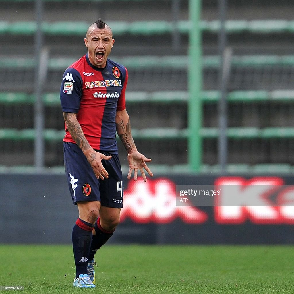 Cagliari s midfielder Radja Nainggolan reacts during the Italian