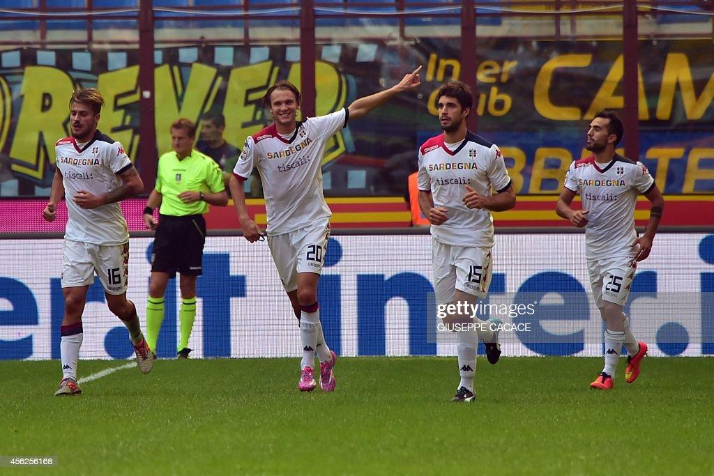 Cagliari's Swedish forward Albin Ekdal celebrates after scoring during the Italian Serie A football match Inter Milan vs Cagliari at San Siro Stadium...