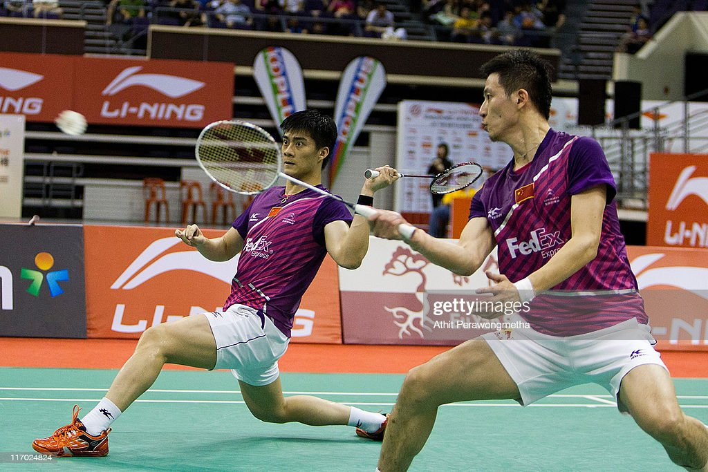 <a gi-track='captionPersonalityLinkClicked' href=/galleries/search?phrase=Cai+Yun&family=editorial&specificpeople=651352 ng-click='$event.stopPropagation()'>Cai Yun</a> and Fu Haifeng of China compete in their match against Alvent Yulianto Chandra and Hendra Aprida Gunawan of Indonesia during day six of the Li-Ning Singapore Open at Singapore Indoor Stadium on June 19, 2011 in Singapore.
