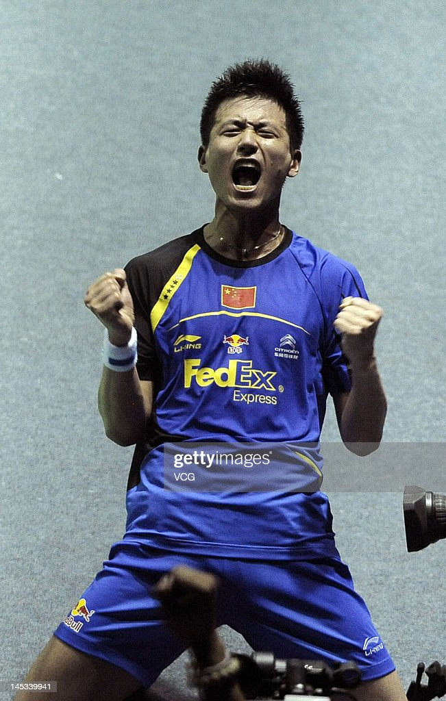 <a gi-track='captionPersonalityLinkClicked' href=/galleries/search?phrase=Cai+Yun&family=editorial&specificpeople=651352 ng-click='$event.stopPropagation()'>Cai Yun</a> of China celebrates after defeating Yong Dae Lee and Sa Rang Kim of South Korea in the final match during the Thomas Cup world badminton team championships at Wuhan Sports Gymnasium Center on May 27, 2012 in Wuhan, China.