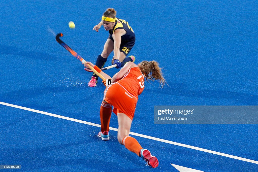 Caia van Maasakker of the Netherlands under pressure from Emily Smith of Australia during the FIH Women's Hero Hockey Champions Trophy match between...