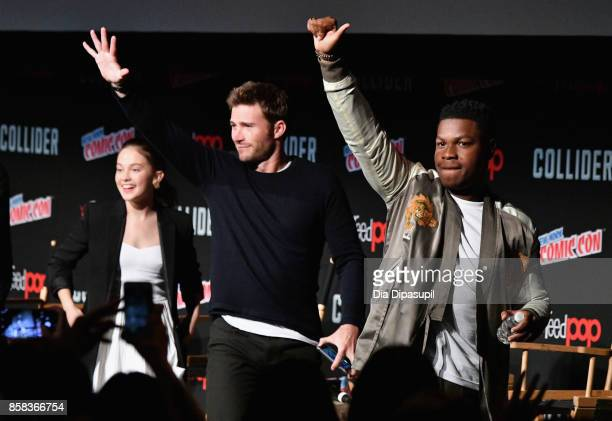 Cailee Spaeny Scott Eastwood and John Boyega speak onstage during the Pacific Rim Uprising panel at 2017 New York Comic Con on October 6 2017 in New...