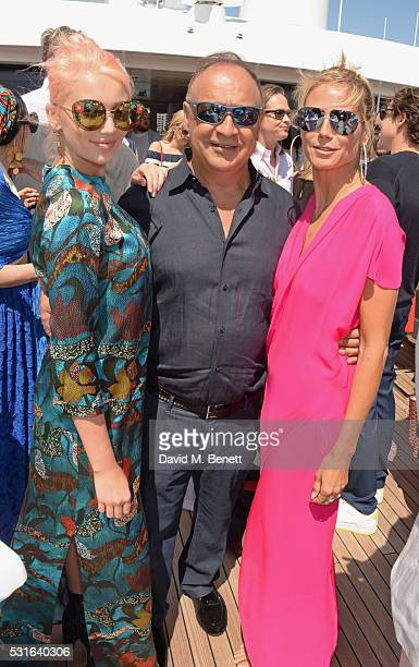 Cailin Russo Len Blavatnik and Heidi Klum attend a private luncheon hosted by Len Blavatnik and Harvey Weinstein aboard Odessa II on May 15 2016 in...