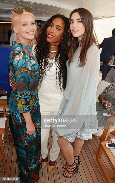 Cailin Russo Sevyn Streeter and Dua Lipa attend a private luncheon hosted by Len Blavatnik and Harvey Weinstein aboard Odessa II on May 15 2016 in...