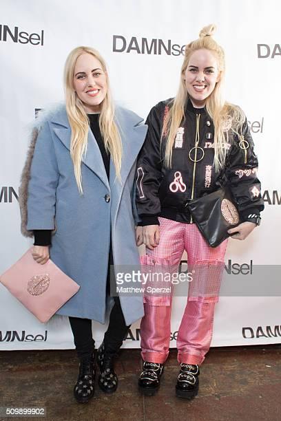 Cailli Beckerman wearing Sandy Liang jacket YSL shoes Damsel bag and twin sister Sam Beckerman wearing Hyein Seo jacket Damael pants bag Alexander...