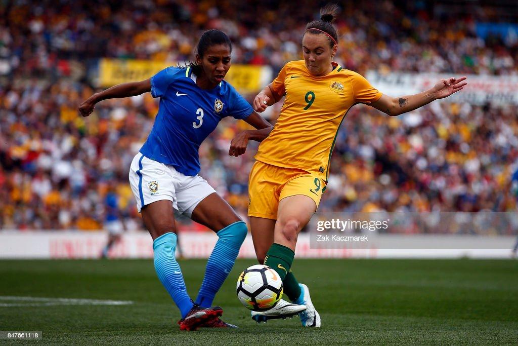 Cailtin Foord of Australia and Bruna Benites of Brazil challenge for the ball during the women's international match between the Australian Matildas and Brazil at Pepper Stadium on September 16, 2017 in Sydney, Australia.
